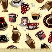 All About Coffee Toss Cotton Fabric - Cream 60576-90