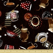 All About Coffee Toss Cotton Fabric - Mocha 60576-9