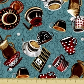 All About Coffee Toss Cotton Fabric - Teal 60576-6