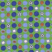 All about Sports Cotton Flannel Fabric - Green