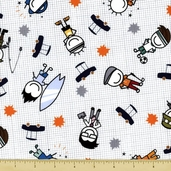 All Dads Cotton Fabric - White
