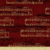 All That Jazz Cotton Fabric - Notation - Crimson