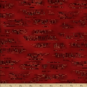 All That Jazz Metallic Sheet Music Cotton Fabric - Holiday