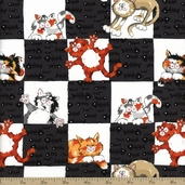 Alley Cat Check Cotton Fabric - Black