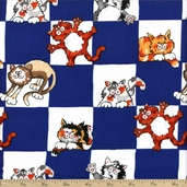 Alley Cat Check Cotton Fabric - Blue
