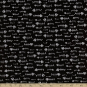Alley Cat Fishbone Cotton Fabric - Black