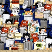 Alley Cat Scavengers Cotton Fabric - Blue