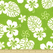Aloha Flannel Fabric - Lime