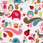 Alphabet Soup Flannel Fabric - White