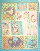 Alphabet Zoo Patchwork Cotton Fabric - Quilt Panel- CLEARANCE