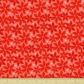 Alpine Wonderland Cotton Fabric - Poinsettias - Red