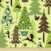 Alpine Wonderland Cotton Fabric - Trees - Green