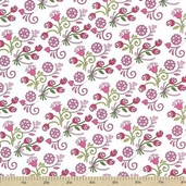 Always and Forever Cotton Fabric - Floral Hearts White