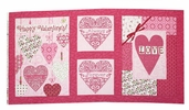 Always and Forever Cotton Fabric Panel - Passion Pink