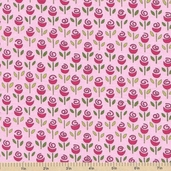 Always and Forever Rows Of Rosebuds Cotton Fabric - Light Pink