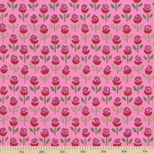 Always and Forever Rows Of Rosebuds Cotton Fabric - Pink