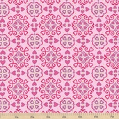 Always and Forever Valentine Cotton Fabric - Rosebud Pink
