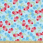 Amelie Cotton Fabric - Blue Floral
