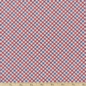 America Diagonal Plaid Cotton Fabric - Red