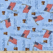America Flag Toss Cotton Fabric - Blue