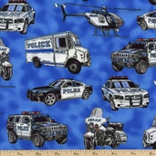 America's Heroes Police Cotton Fabric - Blue ADO-8915-4-BLUE