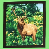 American Elk Cotton Fabric - Panel
