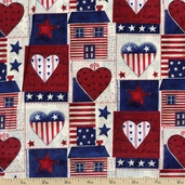 American Heart Patchwork Cotton Fabric - Blue AG-9063-1B - CLEARANCE