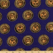 American Heroes Emblems Cotton Fabric - Blue 36042M-1