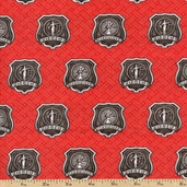 American Heroes Emblems Cotton Fabric - Red 36043-2