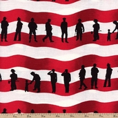 American Heroes Flag Cotton Fabric - Red 36041
