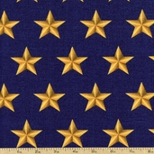American Heroes Large Stars Cotton Fabric - Blue 36044-1