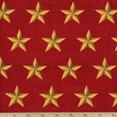 American Heroes Large Stars Cotton Fabric - Red 36044-2