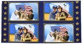 American Heroes Panel Cotton Fabric - Blue 36040-P