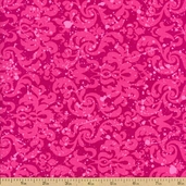 Amethyst Damask Cotton Fabric - Pink