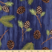 Among the Pines Boughs Cotton Fabric - Blue 1828-82403-427W