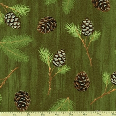 Among the Pines Boughs Cotton Fabric - Green 1828-82403-727W