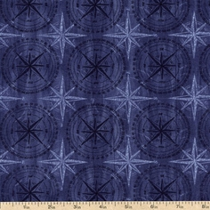 Among the Pines Compass Cotton Fabric - Blue 1828-82405-444W