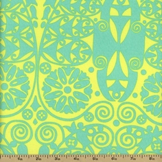 Amy Butler's Soul Blossoms Temple Doors Cotton Fabric - Fresh Mint  AB60