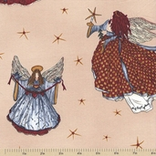 Angels From Above Cotton Fabric - Beige