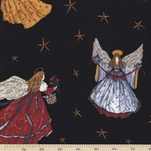Angels From Above Cotton Fabric - Black