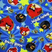 Angry Birds Star Toss Fleece Fabric - Blue