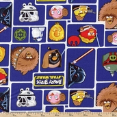 Angry Birds Star Wars Character Blocks Cotton Fabric - Blue