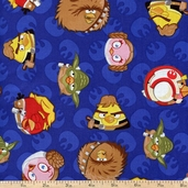 Angry Birds Star Wars Rebel Leaders Cotton Fabric - Blue