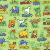 Animal Alphabet Fabric - Green