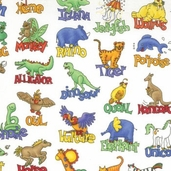 Animal Alphabet - White Fabric - CLEARANCE