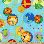 Animal Party Circles Cotton Fabric - Summer AQK-7815-193 SUMMER - CLEARANCE