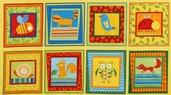 Animal Party Too Owl Panel Cotton Fabric - Summer AAS-10963-193 SUMMER
