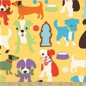 Animal Treats Cotton Fabric - Gold - Puppy Print