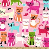 Animal Treats Cotton Fabric - Pink - Kitten Print