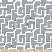 Ant Maze Cotton Fabric - Gray